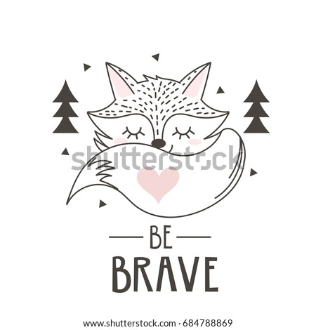 Scandinavian style poster for nursery. Cute fox vector illustration.