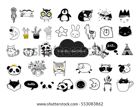 Stock Photo Scandinavian style, simple design, clean and cute black, white illustrations, collection of children doodles, sketches
