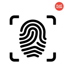 Scanned finger Icon Flat Style Isolated Vector Illustration