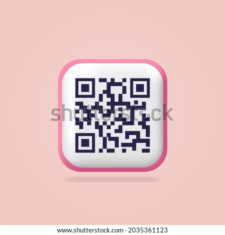 Scanning qr code. Download page of the mobile app. Web banner. Concept web design, website page development. Qr code verification landing page. 3d icons. Isolated