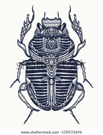 Scarab tattoo, ancient Egypt art. Spiritual symbol of pharaoh, god Ra, t-shirt design. Egyptian sacred bug a scarab, symbol of the sun