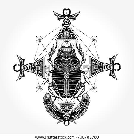 Scarab Tattoo Ancient Egypt Mythology Symbol Of Pharaoh Gods Ra
