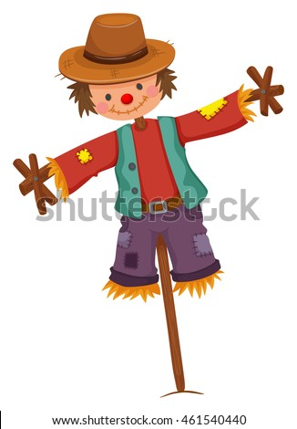 scarecrow on wooden stick