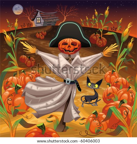 Scarecrow with pumpkins. Funny cartoon and vector illustration. Isolated objects