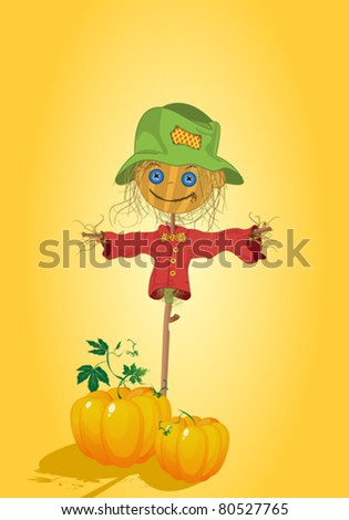Scarecrow with pumpkins, Thanksgiving card