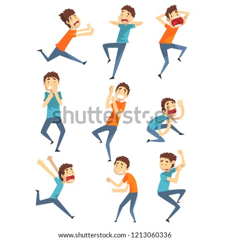 Scared and panicked young men set, emotional guys afraid of something vector Illustration on a white background