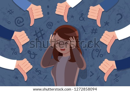 scared and upset woman be bullied on dark background Stock photo ©