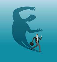 Scared businessman running away in panic from own shadow. Anxiety and conflict vector business concept. Illustration of businessman in panic and run