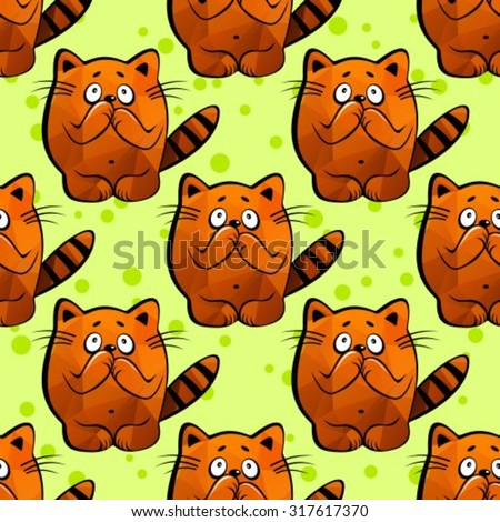 Scared cats on a green background. Seamless pattern.