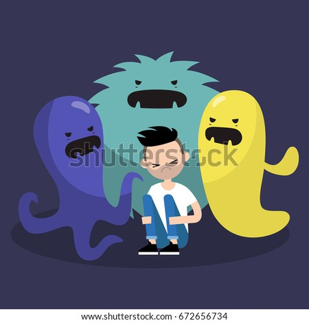 scared character surrounded by