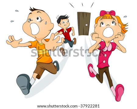 People Running Scared Clipart. stock vector : Scared Children