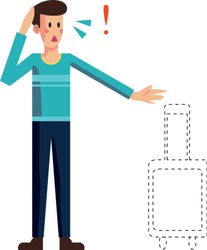 Scared man lost suitcase vector isolated. Check-in luggage delayed or stolen. Troubles during vacation. Airport assistance in baggage search. Flat cartoon illustration.
