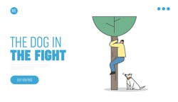 Scared man saving from dog attack on tree. Landing page template with aggressive watchdog barking on human. Canine danger and dog handler concept. Flat design vector illustration