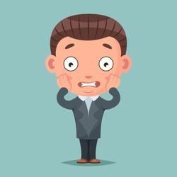 Scared panick businessman mascot fear terror cartoon vector illustration