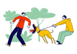 Scared Passerby Male Character Dash Aside of Dog Attack him in Park. Owner Holding Aggressive Pet on Leash. Animal Barking and Trying to Bite Man Walking on Street. Linear People Vector Illustration