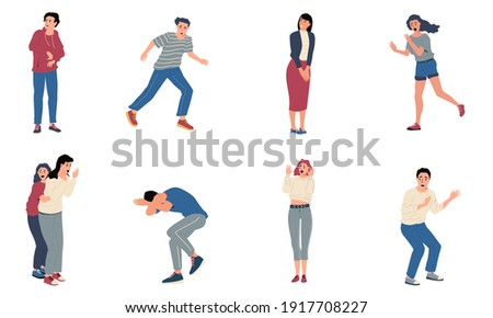 Scared people. Stressed surprised and shocked persons with nervous reactions. Anxious and afraid cartoon characters. Frightened men or women screaming in horror. Vector scenes set of panic attacks Photo stock ©