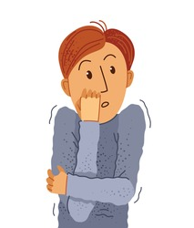 Scared young man feeling uncomfortable vector illustration, phobia paranoia anxiety or other psychical and psychological problems concept, bad emotions.