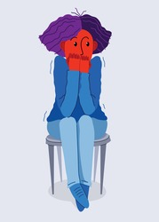 Scared young woman feeling uncomfortable vector illustration, phobia paranoia anxiety or other psychical and psychological problems concept, bad emotions.