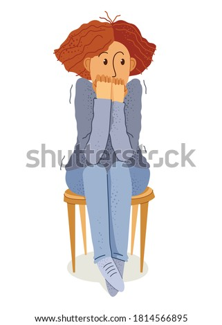 Scared young woman feeling uncomfortable vector illustration, phobia paranoia anxiety or other psychical and psychological problems concept, bad emotions. Foto stock ©