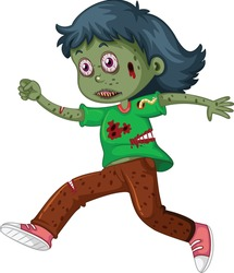 Scared zombie cartoon vector art and illustration