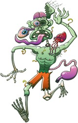 Scared zombie in trouble when running away while falling apart: his brain is uncovered, one of his eyes, his heart and his stomach are sticking out and his skin is falling down because full of worms