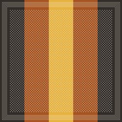 Scarf design for autumn winter in brown and yellow. Striped square background vector graphic with polka dots for scarf, bandana, shawl, hijab, other textile print. Simple fabric accessory.