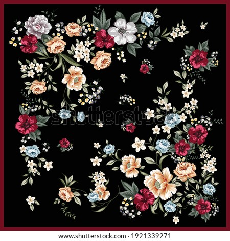 Scarf design made with wild roses and wild flowers