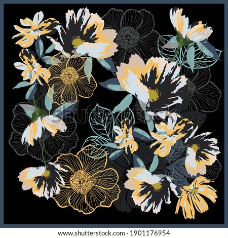 Scarf design with colorful primitive wildflowers on a black background