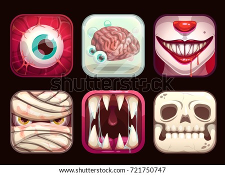 scary app icons on black