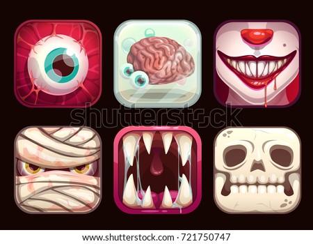 Scary app icons on black background. Cartoon horror Halloween vector illustration set.