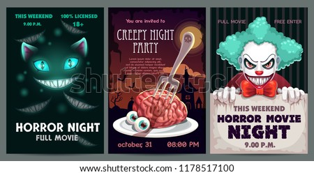 Scary banners and posters set. Horror party invitation flyer. Spooky movie poster design. Vector illustration.