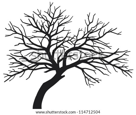 scary bare black tree silhouette without leaves