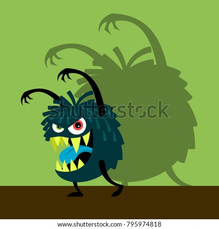 scary blue monster with shadow