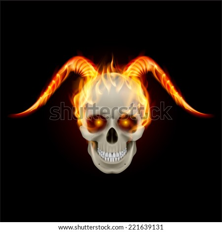 scary burning skull with demon