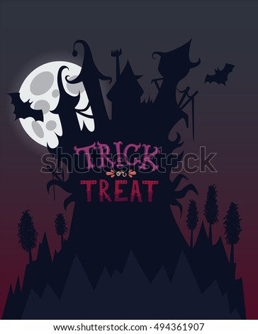 scary castle on the hill halloween vector illustration for a