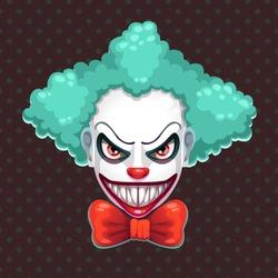 Scary clown face. Bad clown mask concept. Vector evil man portrait illustration.