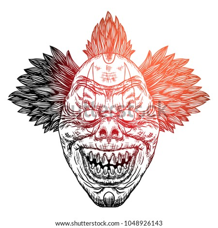 scary clown head concept of