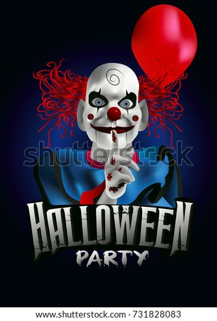 scary clown with a balloon halloween party flyer