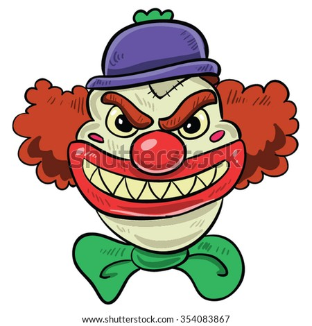 scary clown with big smile  red