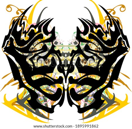 Scary colorful butterfly wings splashes. Abstract butterfly wings with an unusual pattern against the background of floral decorative elements for posters, textiles, tattoos, wallpaper, etc.