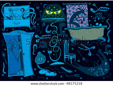 Scary Dark Room (for children) vector - stock vector
