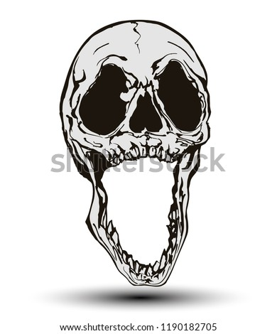 Scary devilish black and white screaming skull isolated on white background in the style of modern illustration.