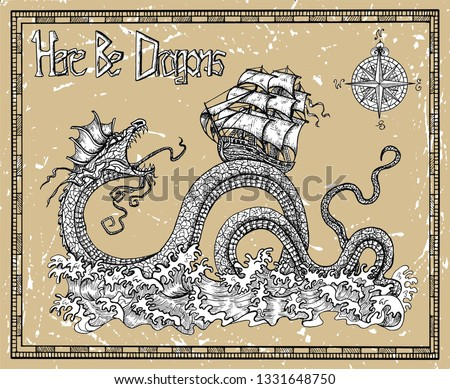 scary dragon and ship with