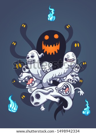 Scary entangled Halloween ghosts with blue flame spirits clip art. Vector illustration with simple gradients. Some elements on separate layers.