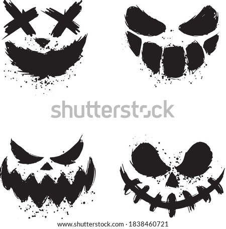 Scary faces of halloween pumpkin or ghos Foto stock ©