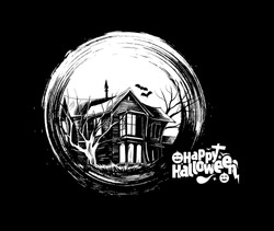 Scary farmhouse Hand Drawn Sketch Vector - Halloween background