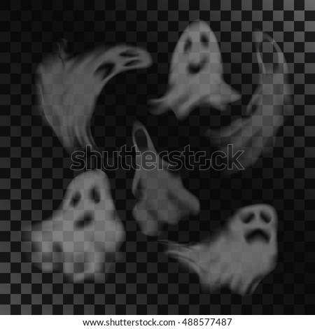 scary ghost characters set with