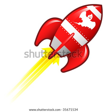 Scary ghost icon on red retro rocket ship illustration good for use as a button, in print materials, or in advertisements.
