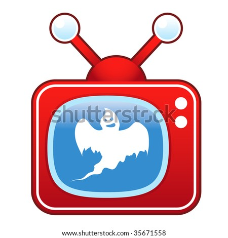 Scary ghost icon on retro television set suitable for use in print, on websites, and in promotional materials.