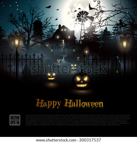 Shutterstock Scary graveyard and farmhouse in the woods - Halloween background